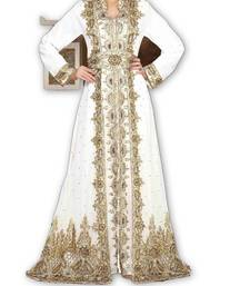 Cream georgette embroidered islamic kaftans