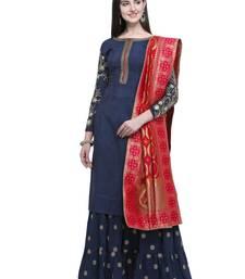 Navy blue embroidered chanderi silk salwar
