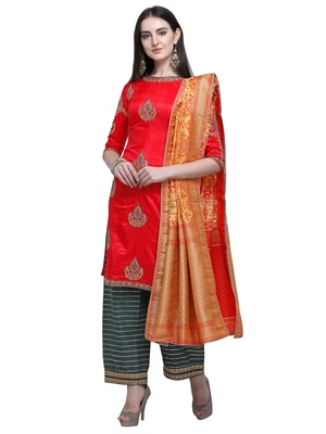 Red embroidered satin salwar