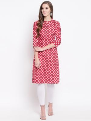 Red Floral Print Cotton Blend Straight Kurta