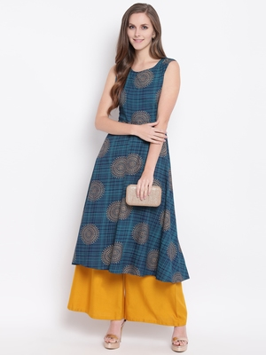 Navy Blue Gold Print Rayon Sleeveless Kurta