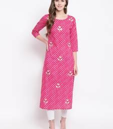 Pink Lehariya Print Gota Patti Cotton Straight Kurta