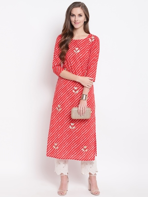 Red Lehariya Print Gota Patti Cotton Straight Kurta