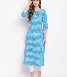 Sky Lehariya Print Gota Patti Cotton Straight Kurta