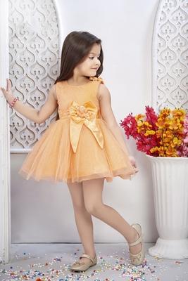 orange woven net kids frocks