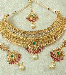 Lalso Designer Kundan Stone Multicolour Gold Plated Bridal Choker Necklace Earring Maangtikka Jewelry Set-LCN31_MG