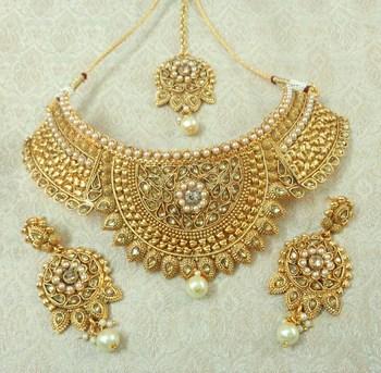 Lalso Designer LCT Kundan Stone Gold Plated Bridal Choker Necklace Earring Maangtikka Jewelry Set-LCN32_LCT
