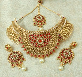 Lalso Designer Kundan Stone Red Gold Plated Bridal Choker Necklace Earring Maangtikka Jewelry Set-LCN32_RD