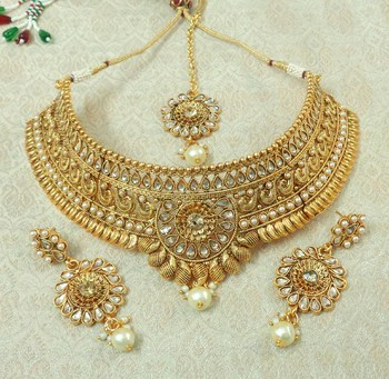 Lalso Designer LCT Kundan Stone Gold Plated Bridal Choker Necklace Earring Maangtikka Jewelry Set-LCN33_LCT