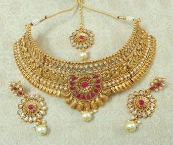 Lalso Designer Kundan Stone Ruby Gold Plated Bridal Choker Necklace Earring Maangtikka Jewelry Set-LCN33_RB