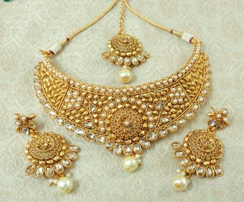 Lalso Designer LCT Kundan Stone Gold Plated Bridal Choker Necklace Earring Maangtikka Jewelry Set-LCN34_LCT