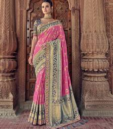 Pink embroidered silk blend saree with blouse