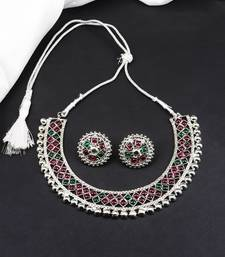 Multicolour Stone Studded Silver Plated Metallic Necklace Sets
