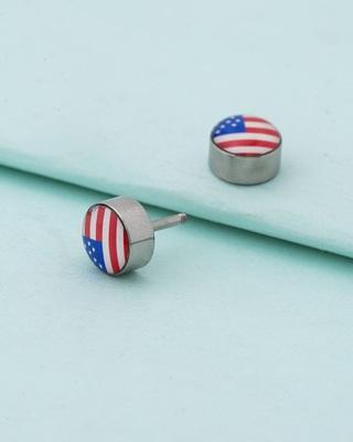 Royal Stud American Flag Earring