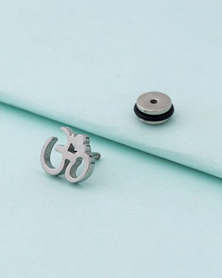 Royal Stud Silver Plated Om Earring