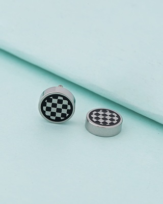 Royal Stud Checked Surface Earring