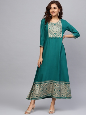 Dark-teal printed liva long-kurtis