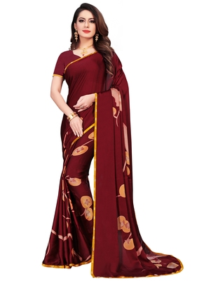 Maroon printed satin saree with blouse
