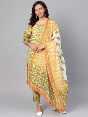 Green stripes print cotton salwar