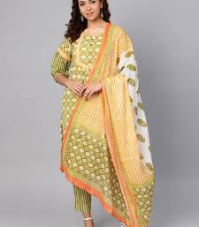 Green stripes print cotton salwar