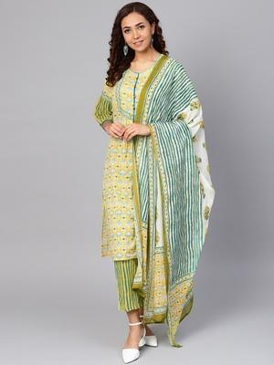 Yellow stripes print cotton salwar