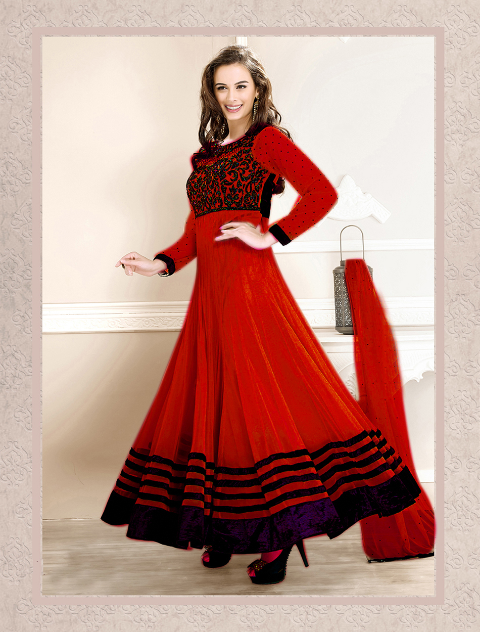 fbbff07acd Red embroidered Georgette semi stitched salwar with dupatta - Thankar -  419508