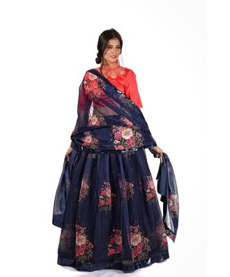 Multi Colour Digital Printed Semi Stitched Lehenga Choli