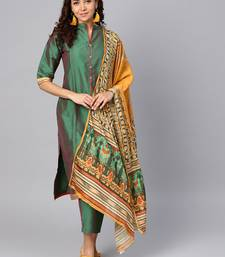 Dark-green printed polyester salwar