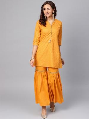 Light-orange printed cotton salwar