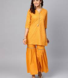 Light-orange printed cotton salwar
