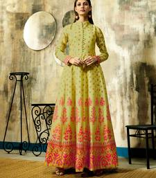 Lemon printed chanderi ethnic-kurtis
