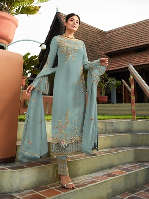 Light-blue embroidered faux georgette salwar