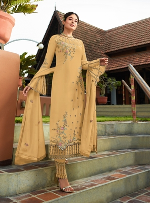 Light-mustard embroidered faux georgette salwar