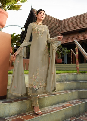 Slate-grey embroidered faux georgette salwar