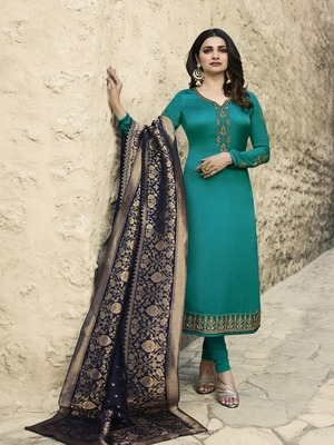 Turquoise embroidered satin salwar