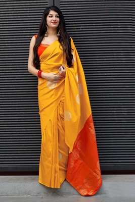 Yellow Color Plain Soft Silk Saree With Blouse