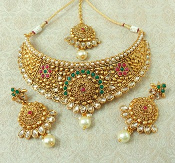 Lalso Designer Kundan Stone Multicolour Gold Plated Bridal Choker Necklace Earring Maangtikka Jewelry Set-LCN34_MG