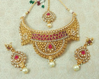 Lalso Designer Kundan Stone Ruby Gold Plated Bridal Choker Necklace Earring Maangtikka Jewelry Set-LCN35_RB