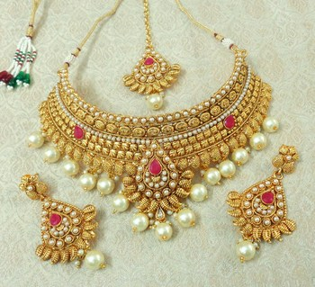 Lalso Designer Gold Plated Kundan Ruby Stone Pearl Drops Bridal Choker Necklace Earring Maangtikka Jewelry Set-LCN36_RB