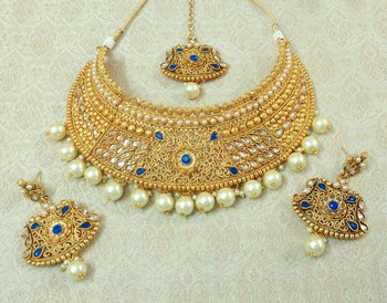 Lalso Designer Gold Plated Kundan Blue Stone Pearl Drops Bridal Choker Necklace Earring Maangtikka Jewelry Set-LCN37_BL