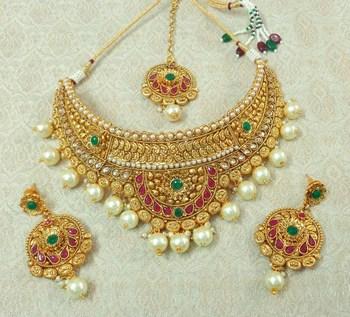 Lalso Designer Gold Plated Kundan Multicolour Stone Pearl Bridal Choker Necklace Earring Maangtikka Jewelry Set-LCN38_MG