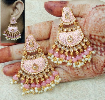 Lalso Designer Baby Pink Meenakari Pearl Chandbali Earrings - LME15_BP