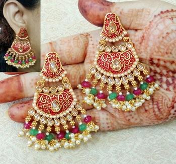 Lalso Designer Multicolour Meenakari Pearl Chandbali Earrings - LME15_MG