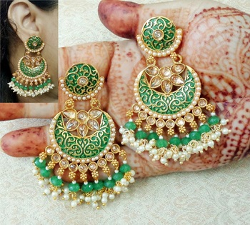 Lalso Designer Green Meenakari Pearl Chandbali Earrings - LME17_GR