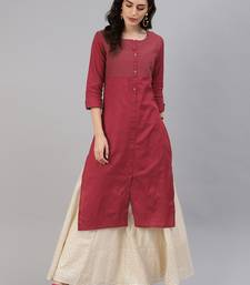 Blood-red woven cotton ethnic-kurtis