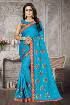 Blue embroidered silk blend saree with blouse