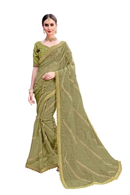 Olive woven organza saree with blouse