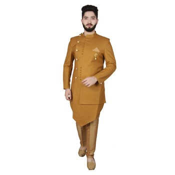Yellow plain pure raw silk sherwani