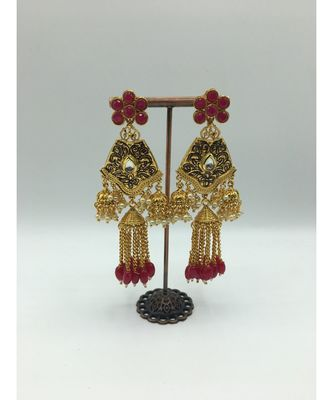 Ruby Stone Gold Plated Earrings
