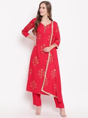 Red blockked set ethnic-kurtis rayon pink